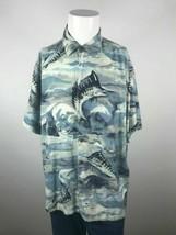 Mens Caribbean XL Blue Marlin Fishing Boat Graphic Short Sleeve Button U... - $13.95
