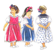 Vintage New Look Sewing Pattern 6575 Girls Pinafore Jumper Dress Blouse ... - $6.95