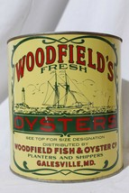 Vintage Woodfield's Fresh Oysters 1 Gal Galesville Md. Maryland  - $125.40