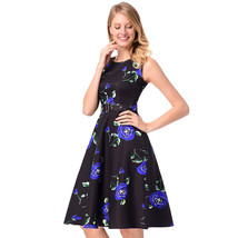 AOVEI Blue Floral Print 1950s Flared A Line Cute Night Out Pleated Swing Dress - $24.99