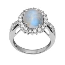 Exclusive Rainbow Moonstone 925 Sterling Silver Ring Shine Jewelry Sz-8 ... - £9.04 GBP