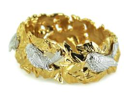 Vintage Nolan Miller Songbirds Leaves Rhinestone Stunning Hinged Bracele... - $143.99