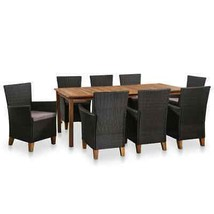 vidaXL Solid Wooden Outdoor Dining Set Poly Rattan Furniture 9/13/17 Pieces - $403.99+