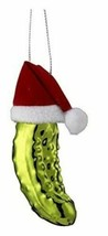Noble Gems Collection Glass Pickle in Santa Hat Ornament - $25.99