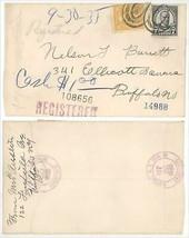 1935 Buffalo NY Ellicott Square Building Registered Cover Scott #539 & #... - $6.99
