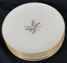 """Set of 6 Wheat by Lenox R-442 7 7/8"""" Salad Plates Made in USA Used Gold ... - $74.25"""