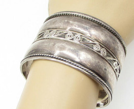 925 Sterling Silver - Vintage Wired Filigree Twisted Borders Cuff Bracel... - $160.16