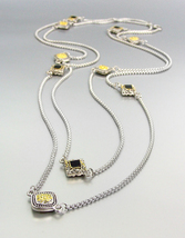 """GORGEOUS BALINESE Square Gold Cable Charms Silver Box Chain 54"""" Ex Long ... - $29.99"""