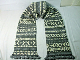 Banana Republic Womens Neck Scarf Knit Wool Cashmere Gray White Tassels ... - $29.65
