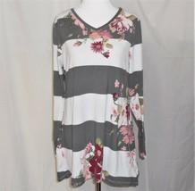 Lularoe Tunic Top XS Long Sleeve Gray White Stripe w/ Pink Floral - $14.35