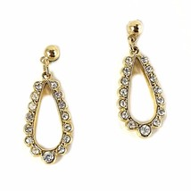 Open Teardrop Earrings Sarah Coventry Vintage Rhinestone Gold Tone Pierc... - $18.69