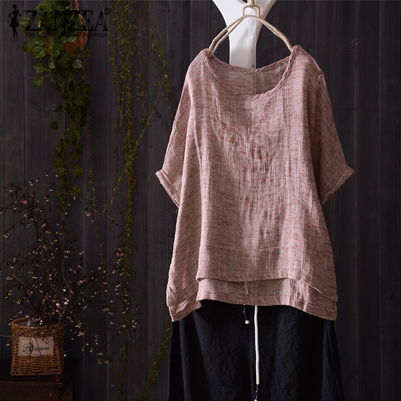Top Fashion 2018 ZANZEA Women Casual O Neck Short Batwing Sleeve Loose Blouse Su