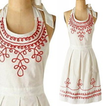 Anthropologie Piped + Pretty Apron White Coral Shower Hostess Holiday Mo... - £29.11 GBP