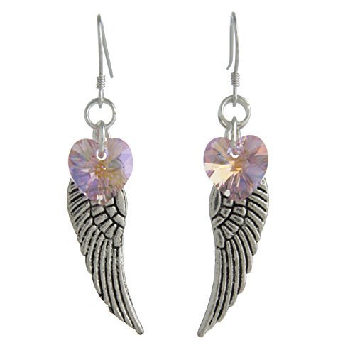 Woodstock Angel Wing Earrings, Light Rose- Rainbow Maker Collection