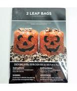 2 Big Halloween Pumpkin Leaf Bags Yard Lawn Decor Jack O Lantern Decoration - $7.99