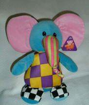 """SUGAR LOAF ELEPHANT plush toy Blue checkerboard Black purple yellow 10"""" NWT - $49.49"""