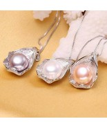 Charm Shell Pearl Pendant Jewelry Necklace 925 Sterling Silver Womens Gi... - $16.53