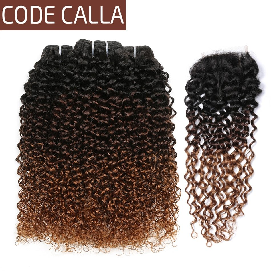 La ombre color kinky curly bundles with lace closure brazilian raw virgin human hair unprocessed