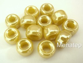 12 5 x 9mm Czech Glass Roller/Crow Beads: Yellow - Luster - $1.70