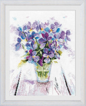 Cross Stitch Kit Hand Embroidery Flowers Still Life Bouquet Blue Viola - $28.98