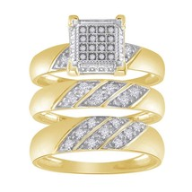 1.42 Cttw Round Diamond 14k Yellow Gold Over Bridal Set Trio Engagement ... - $169.89