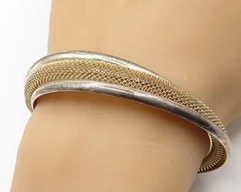 18K Gold & 925 Silver- Vintage Modest Handmade Semi-Swirled Cuff Bracelet- B3193 - $108.64