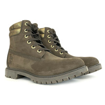 Timberland Women's 6 Inch Double Collar Dark Brown / Gold Leather Boots ... - $79.99