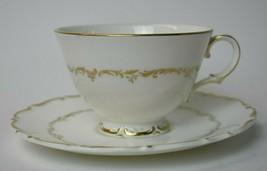 Royal Doulton England China Richelieu Tea Cup & Saucer Set White Gold H 4957 - $4.95