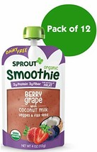 Sprout Organic Toddler Smoothie Pouches, Berry Grape w/ Coconut Milk, 4 Ounce Pa