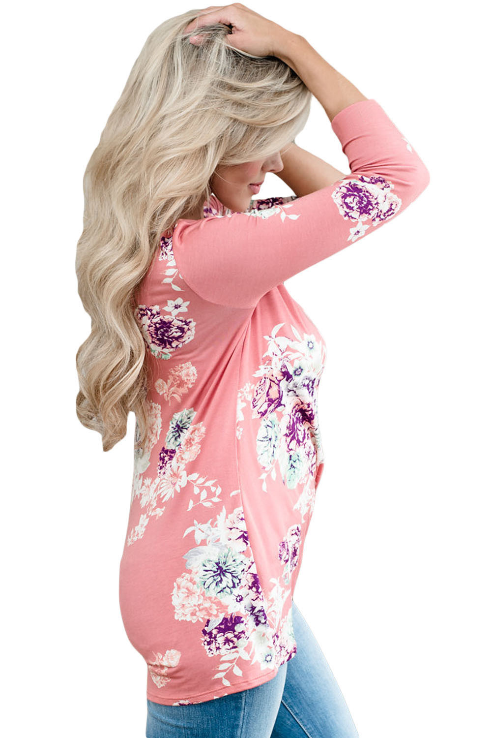 Pink Long Sleeve Knotted Floral Print Blouse