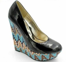 Steve Madden Elli Women Wedge High Heels Size US 6 Black Blue - $45.99