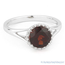 1.71ct Round Cut Garnet & Diamond Halo Engagement Promise Ring in 14k Wh... - £306.16 GBP