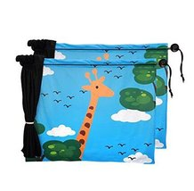 Set of 2 Cartoon Car Curtains Sunshades Sucker Type Sunshades, Giraffe