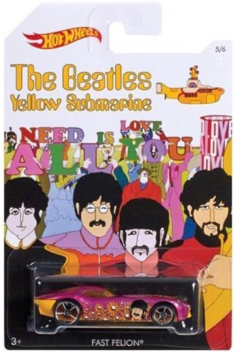 THE BEATLES YELLOW SUBMARINE Hot Wheels FAST FELION Die Cast Metal Car 5/6 OOP