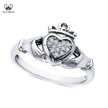 Womens Claddagh Ring 14k White Gold Plated 925 Sterling Silver Round Cut... - ₨3,700.20 INR