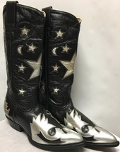 Montana Black/Silver Ornate Outlay Boots in size 8.5B - $149.00