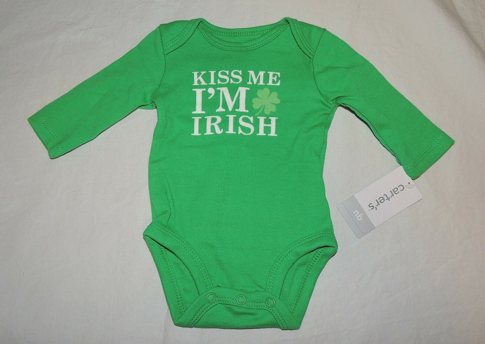 NEW  Baby Carter's Size Newborn Kiss Me I'm Irish Bodysuit St. Patrick's Day