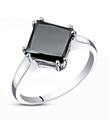 0.54 Carat Black CZ Solitaire Engagement Wedding Ring In White Fn. 925 S... - $60.99