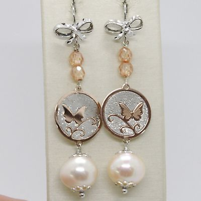 EARRINGS SILVER 925 TRIED AND TESTED HANGING WITH PEARL FISHING CRYSTALS BOW