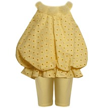Bonnie Baby Baby Girl 3M-24M Yellow Embroidered Eyelet Bubble Dress/legging Set