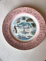 Vintage San Francisco Souvenir Plate Pink And Gold Trim - $27.00