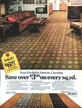 1976 Sears Footlights Supreme Carpeting PRINT AD Great 70s Decor and Colors! - $9.53