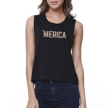 With Merica Womens Black Cotton Crop Tee Tribal Pattern Graphic Top - $14.99