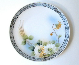 """Vintage Marked S&K Japan Hand Painted Plate Dish Blue & White Floral 6.25"""" - $10.00"""