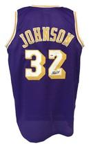 Magic Johnson Autographed Pro Style Custom Purple Jersey PSA/DNA Authent... - £80.12 GBP