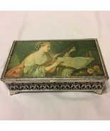Victorian Lady Filigree Silver Toned Jewelry Box Footed Silk Top - $13.37