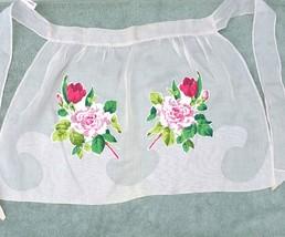 Vintage Rockabilly Apron Floral Applique Sheer Roses Carmen Lee - $13.55