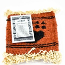 Handmade Zapotec Indian Weaving Hand-Woven Bear Paw Red Wool Coaster Set of 4 image 2