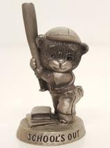 1990 Avon Teddy Bear Baseball Books SCHOOL'S OUT Vintage 90s Pewter Figu... - $14.84