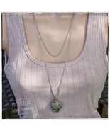Layered stone necklace pendant. Wire wrapped pendant. Long chain necklace. - $9.00